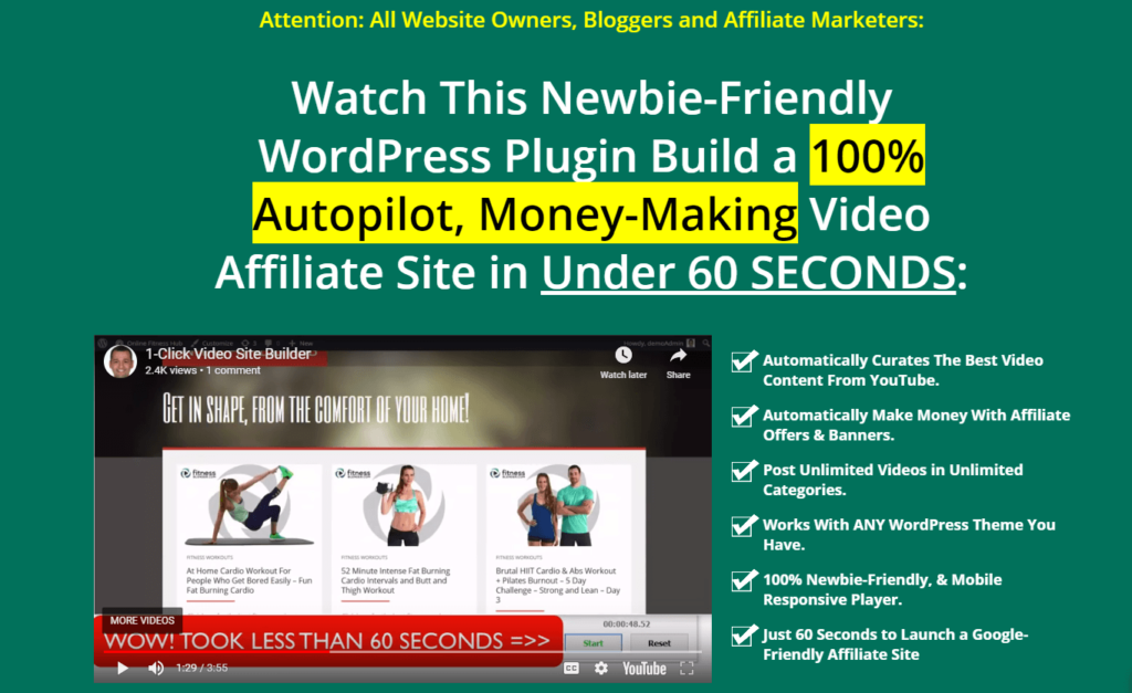 WP 1 Click Video Site Builder review